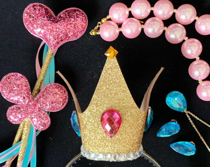 Princess Peach Crown Set,Mario Princess Crown,Princess Peach Costume,Super Mario cosplay,Woman Princess Peach Necklace,Earrings,Accessories