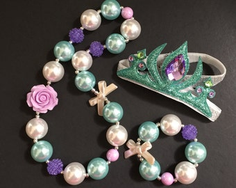 Ariel Necklace,Mermaid Necklace,Ariel Bubblegum necklace,Purple Chunky necklace,Teal Chunky Necklace,Disney Ariel crown,Mint Nicklace