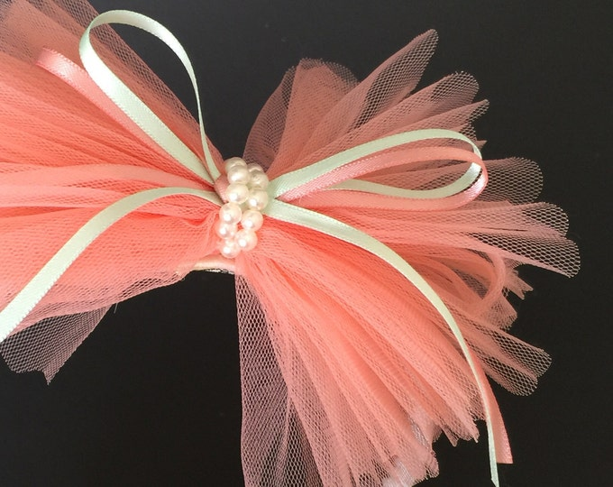SALE!!!,Flower Girl Hair bow,Lace Bow,Chiffon Hair Bow,Chiffon headband,Flower girl gift,Ruffle hair bow,Tulle Hair Bow,peach color Hair Bow