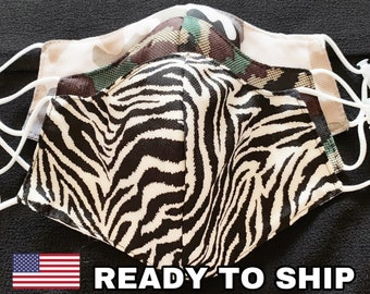 3 Layers Filter Pocket Mask Multilayer Made In USA Adult Washable Polypropylene Camouflage Army print Zebra Printed Army Military Clothing
