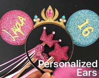 Aurora Minnie Ears,Pink and sky blue ear,baby minnie ears,Tiara Minnie Mouse Ears,Pink and Blue outfit,Princess Minnie Ears,Disneyland Ears,