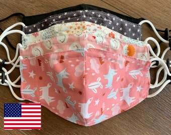 READY To SHIP Kid Cotton Mask With Filter Pocket Made In USA Adult Washable Reusable Homemade Teen Children Child Polypropylene filter pink