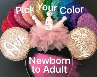 Rose gold Minnie ears,Birthday Minnie Ears,Birthday Mouse Ears,gold pink Minnie ears,First birthday,peach color ears,customized ear,baby ear