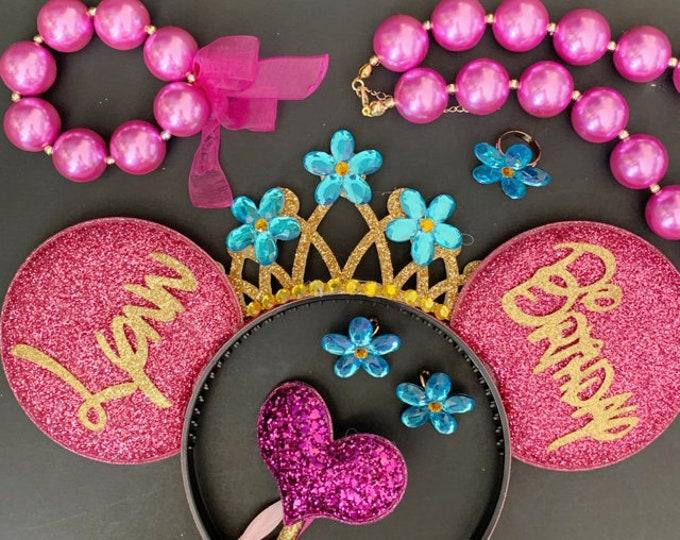 Disney Fancy Nancy Minnie Ear,Fancy Nancy Necklace,Fancy Nancy Costume,Fancy Nancy Tiara,Fancy Nancy headband,flower crown,Mini,Mickey Ear