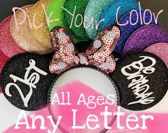 Rose gold Birthday Minnie Ears,Porka dots,Rosegold Ears,Customized Mickey Ear,Personalized  Ear,Minnie Elastic Headband,Baby Minnie Ear,Mini