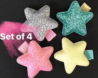 Glitter Star Hair Clip,Toddler Hair Clip,Glitter Hair Clip,Star Hair Clip,Little Girls Hair Clip,Point Hair bow,Baby barrette