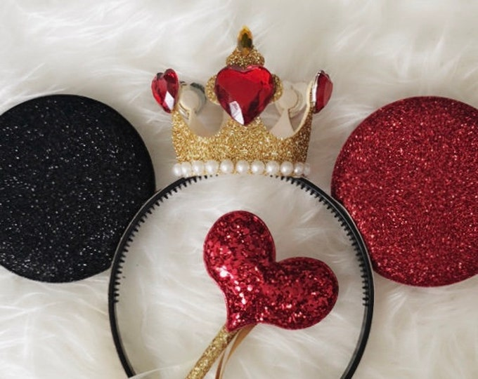 Queen Of Hearts Minnie Ears,Queen Of Hearts Crown,Mickey Ears Headband,Queen of hearts costume,Alice in wonderland,Queen of hearts  outfit
