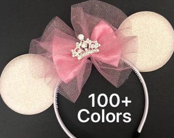 Aurora Minnie Ear,Aurora Crown,Tiara Minnie Ear,Pink Minnie Ear,Princess Ear,personalized Minnie Ear,Customized ear,Pinkalicious Minnie Ears