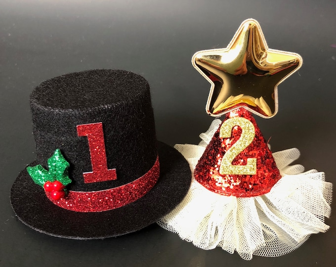Christmas Hat,Red glitter cone hat,Kids Baby Christmas Photo Prop,Elastic headband,Christmas Party,gift for grand daughter,Santa hat,