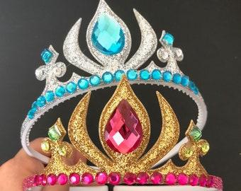 Anna crown,Elsa Crown,Anna Elastic Headband,Elsa Elastic Headband,crown headband,Anna Costume,sister crown,sister and me,Elsa costume,Frozen