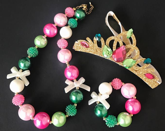 Anna Crown Set,Baby Chunky Necklace,Bubble Gum Necklace,Pink and Green,Photo Prop,children necklace,First Birthday,Cake smash,One Year Party