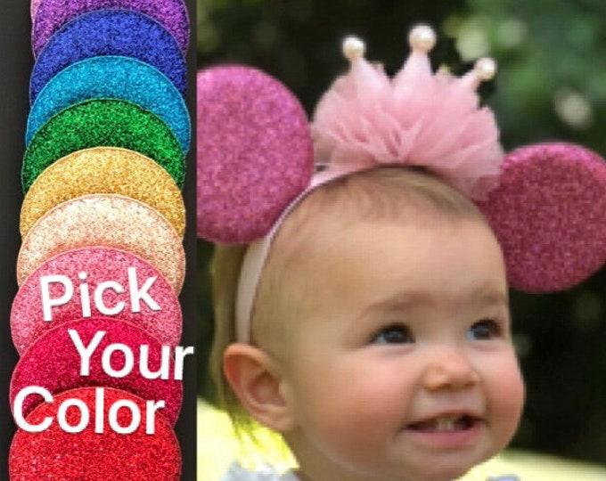 Baby Minnie Ear,Minnie Elastic Headband,ears for a baby,Personalized,Customizable Mickey Ear,Customized Ear,headband with name,monogrammed