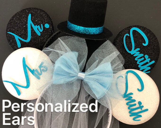 Sky blue Bride Minnie Ear,BRIDE & GROOM Mouse Ear,Anniversary ear,Wedding Minnie ears,Personalized Minnie ears,Mickey Ears Headband,custom