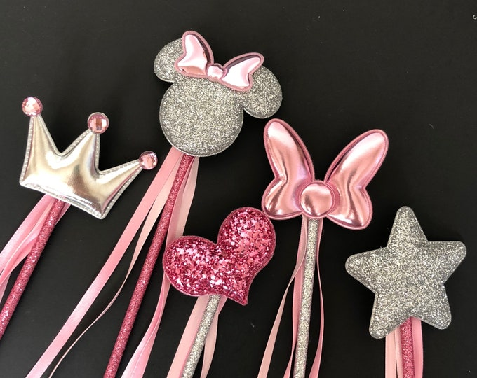 Pink Wand,Aurora Wand,Pinkalicious Wand,Aurora theme,Glitter Wand,birthday Wand,Light pink and silver,Aurora outfit,Fancy nancy outfit,Crown