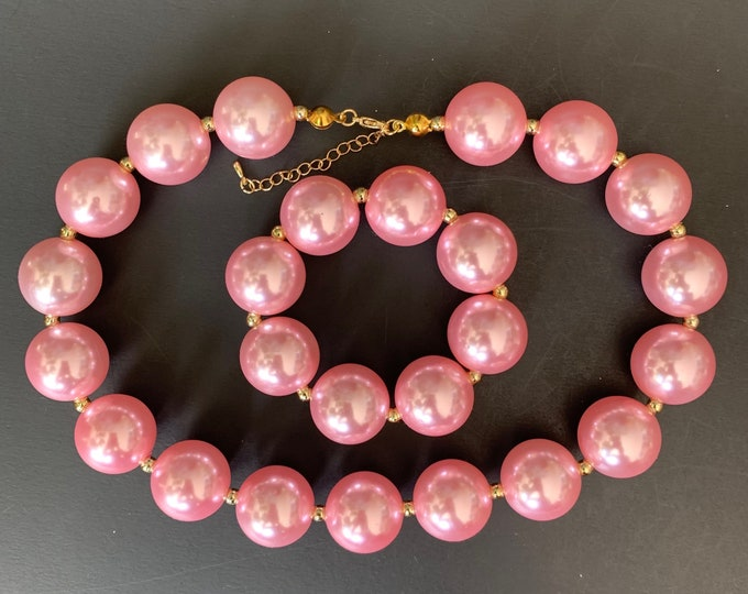 Light Pink Chunky Necklace,Aurora Necklace,Pale pink Baby Necklace,Bubblegum necklace,Pink and Gold Accessories,Sleeping Beauty Bracelet