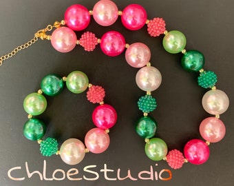Frozen Anna Necklacet,Baby Chunky Necklace,Bubble Gum Necklace,Pink and Green,Photo Prop,children necklace,First Birthday,Cake smash,Rainbow