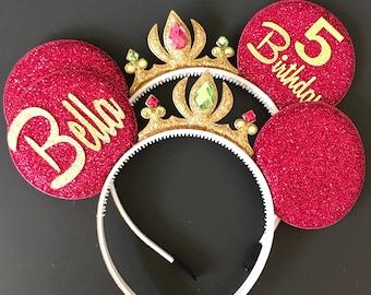 Anna Minnie Ears,Anna Crown Minnie Ears,Tiara Minnie Ears,Princess Minnie Ears,Princess Ears,Anna Minnie Headband,Frozen Anna Mickey Ears
