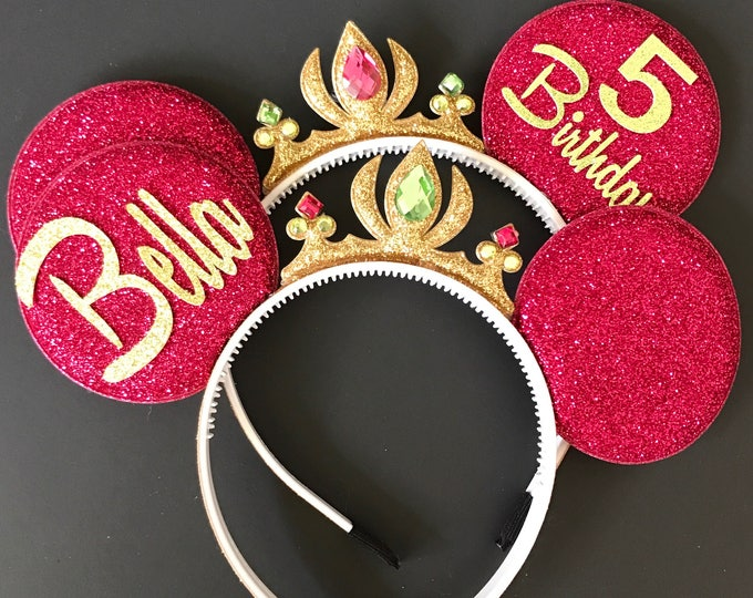 Anna Minnie Ears,Anna Crown Minnie Ears,Tiara Minnie Ears,Princess Minnie Ears,Princess Ears,Anna Minnie Headband,Frozen Anna Mickey Ears