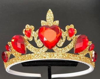 Evie Descendants 2 Crown,Queen of Heart Crown,Queen Of Hearts Elastic Headband,Queen Of Hearts Costume,Disney Descendants 2 Tiara,Necklace