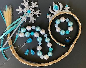 Elsa Crown Wig Set,Elsa Necklace,Earrings,Bracelet,Ring,Frozen,disney princess crown,Elsa Elastic headband,Wig Headband,Birthday,Elsa outfit