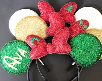 Christmas Minnie Ears,Minnie Ears elastic Headband,Christmas Mickey Ears,Holiday Mickey Ears,Christmas Photo prop,Personalized Minnie Ears,
