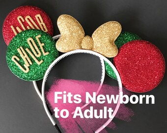 Personalized Minnie Ears,Christmas Minnie Ears,Minnie Ears elastic Headband,Christmas Mickey Ears,Holiday Mickey Ears,Christmas Photo prop