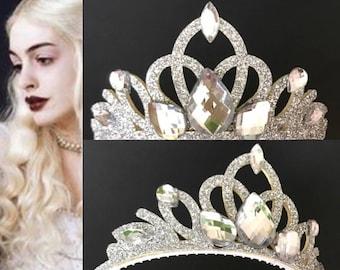 SALE!!!,White Queen Crown,Alice in Wonderland,White QueenTiara,White Queen Costume,White Queen Headband,Snow Queen Crown,White Queen Elastic