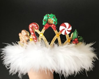 Christmas Crown,Christmas Elastic headband,Baby Christmas Photo Prop,Christmas Party,gift for grand daughter,christmas birthday,newborn