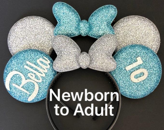 Cinderella Birthday Minnie ears,Elsa Minnie Ears,Cinderella Mickey Ears,Elsa Mickey Ears,Personalized Minnie ears,Customizable Ear,Name Ears