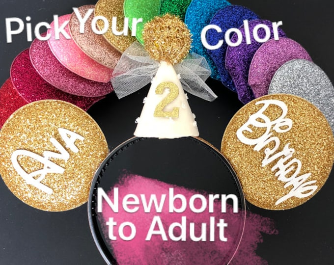 Gold Minnie Ears,Minnie Birthday Hat,Gold Mickey Ear,First birthday Ears,Customized Ear,Custom Ear,Personalized Ear,Disney Headband,name Ear