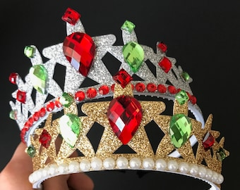 Christmas Crown,Christmas headband,Kids Baby Christmas Photo Prop,Christmas Party,Christmas Elastic headband,gift for grand daughter,green
