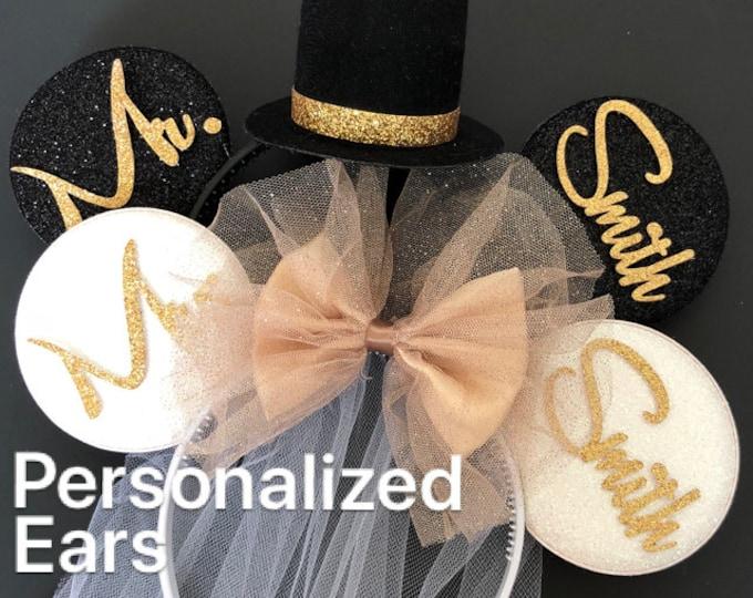 Gold Bride Minnie Ear,BRIDE & GROOM Mouse Ear,Anniversary ear,Wedding Minnie ears,Personalized Minnie ears,Mickey Ears Headband,custom ears