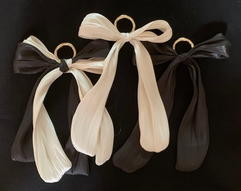 Glossy Silk Bow Key chain,Gold Key Ring,Black bow,Silken Ivory Bow,White,Large bow,Wedding Ribbon,Keyring,Keychain,Tote bag,wallet,Purse
