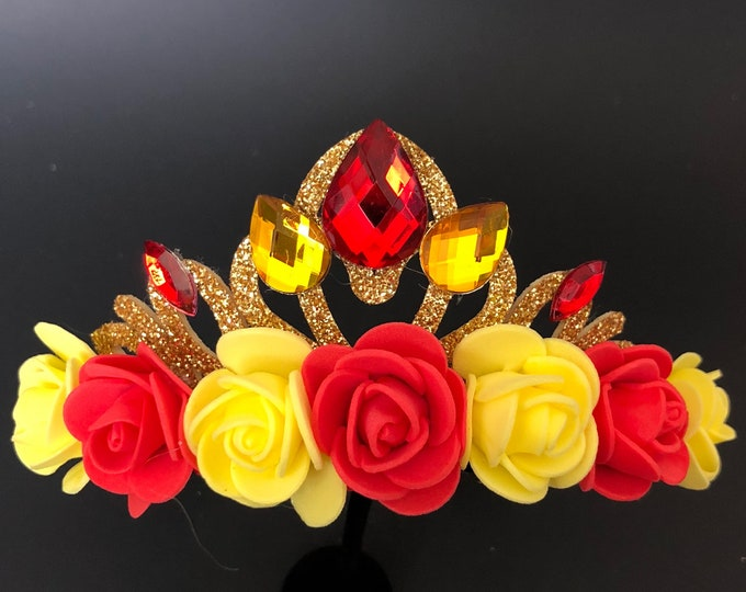 Belle Crown,Belle Costume,Red Flower Crown,Belle Elastic Headband,Beauty and the beast,Wreaths,disney princess crown,Red and Gold Crown,halo
