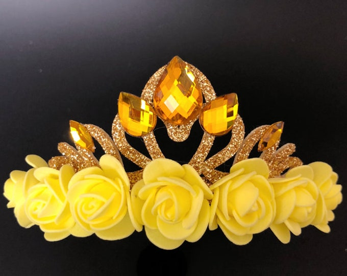 Belle Crown,Belle Elastic Headband,Beauty and the beast,Sleeping Beauty,Belle dress,disney princess crown,Belle Gold Crown,Yellow Flower