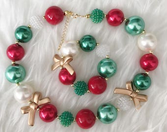 Christmas Chunky Necklace,Red Green Gold Chunky Necklace,Holiday Necklace,Toddler Necklace,Baby Chunky Necklace,Christmas Bubblegum necklace