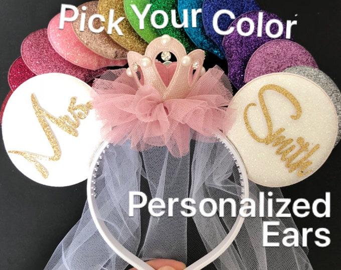 Bride Minnie Ears,Pink Crown Mouse Ears,Personalized Minnie ears,I Do Minnie Wedding,Mickey Ears Headband,Bridesmaid ears,Disney honeymoon