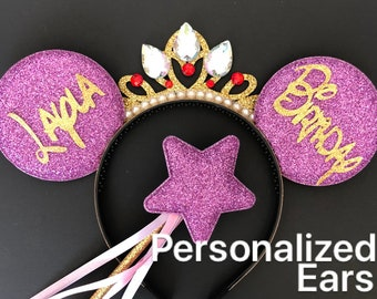 Rapunzel Minnie Mouse Ears with Crown,Birthday Mini Mouse Ear,Purple Minnie Ear,Disney Mickey Mouse Ear,Customize ear,personalized ear,crown