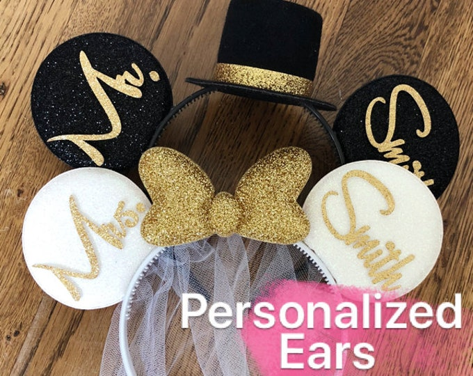 BRIDE & GROOM Mouse Ear,Bride Minnie Ear,Wedding Minnie ear,Disney Honeymoon,Anniversary ear,Personalized ear,Mickey Ears Headband,customize