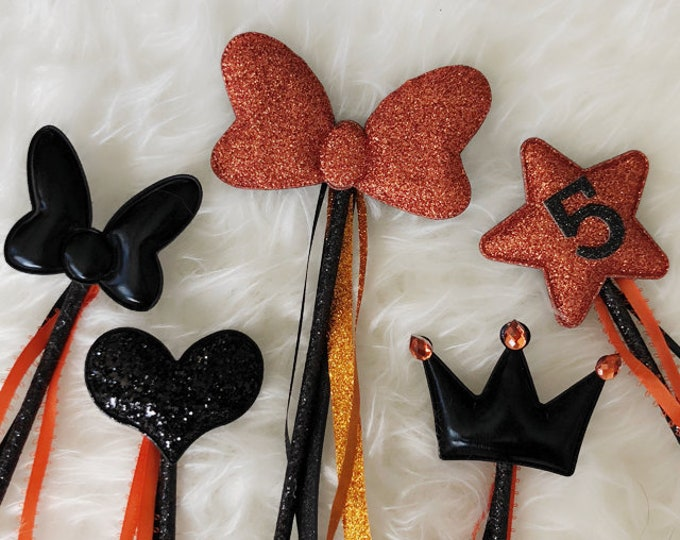 Halloween Wand,Orange Color Wand,Birthday Party,Halloween Party Favor,Orange Black,Glitter Wand,name wand,personalize wand,custom wand