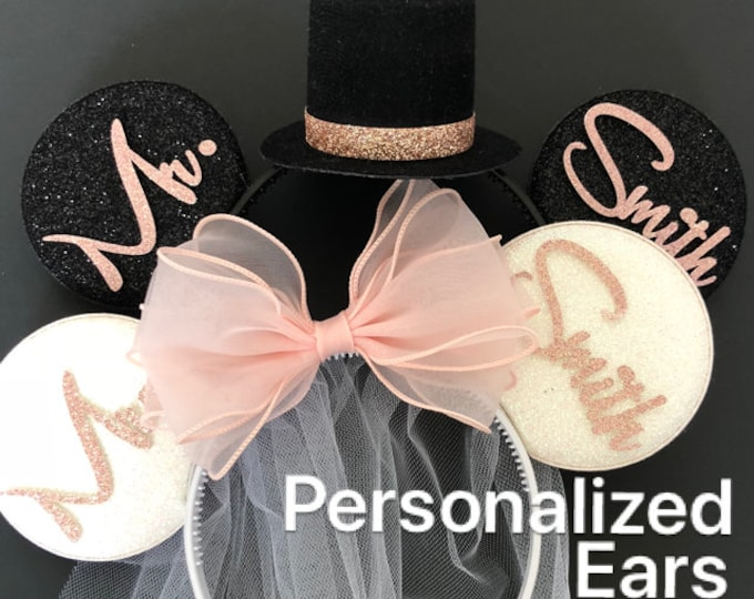 Peach Color Bride Minnie Ear,BRIDE & GROOM Mouse Ear,Rose gold, ear,Wedding Minnie ears,Personalized Minnie ears,Mickey Ears Headband,custom