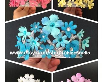 Cinderella Crown,Disney Princess Crown,Cinderella Crown Headband,flower Headband,blue crown,purple crown,Princess Crown,fancy nancy headband