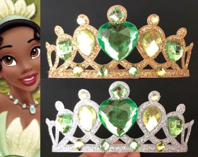 Tiana Crown,Tiana Elastic Headband,disney princess crown,Princess and frog crown,green crown,frog princess crown,princess Tiana Headband