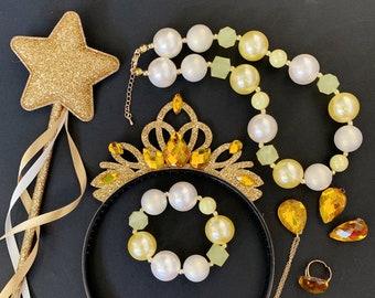 Belle Crown Set,Belle Elastic Headband,Belle crown Headband,Disney Beauty and the beast costume,princess crown,Belle tiara,Belle outfit,Wand