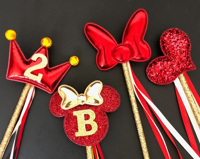 Red color Wand,Belle Wand,Beauty and the beast outfit,Glitter Wand,birthday Wand,Red and gold,Belle outfit,baby photo prop,customized,name
