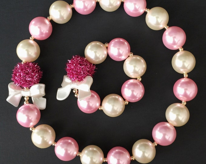 Pink Chunky Necklace,Pink Baby Necklace,Pink Bubblegum necklace,Pink necklace,Pink and Gold Chunky Necklace,Pink and Cream Necklace,Accessor