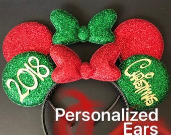 Christmas Minnie Ears,Minnie Ears elastic Headband,Christmas Mickey Ears,Holiday Mickey Ears,Christmas Photo prop,Personalized Minnie Ears,