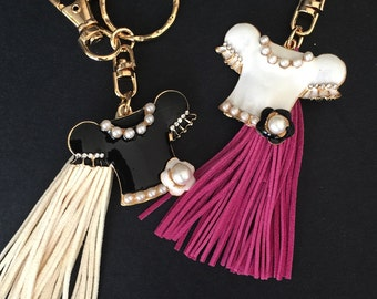 SALE!!!,Tassel Keychain,Rhinestone Keyring,purse keychain,bag keyring,pearl KeyRing,Bag Keychain,Gift for girl,bag Charm,tassel accessory