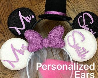 BRIDE & GROOM Mouse Ears,Lavender Bride Minnie ears,Wedding ears,Anniversary ears,Personalized Minnie ears,Mickey Ears Headband,customize