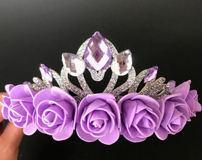 Purple Flower Crown,Sofia crown,Sofia Elastic  Headband,Flower Elastic Headband,Kids Halo ,Princess sofia theme,Sofia the first,baby crown